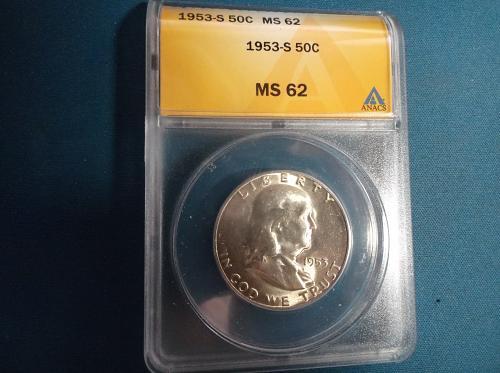 MS62 1953s Franklin half