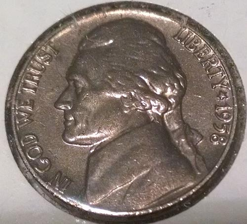 1958 P Jefferson Nickel