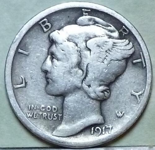 1917-P VERY FINE Mercury Dime VF ( 937)