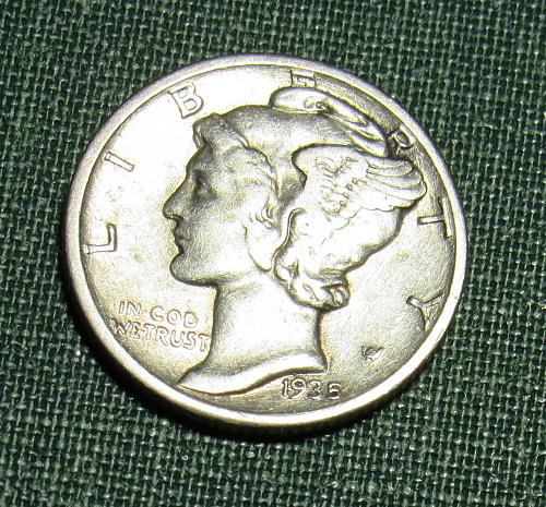 1935P Silver Mercury  Dime
