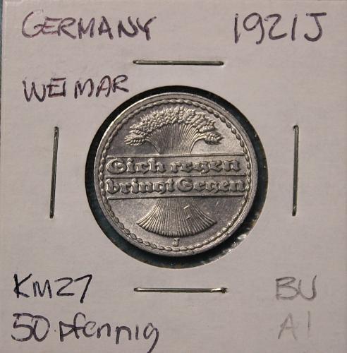 Germany (Weimar) 1921J 50pfennig