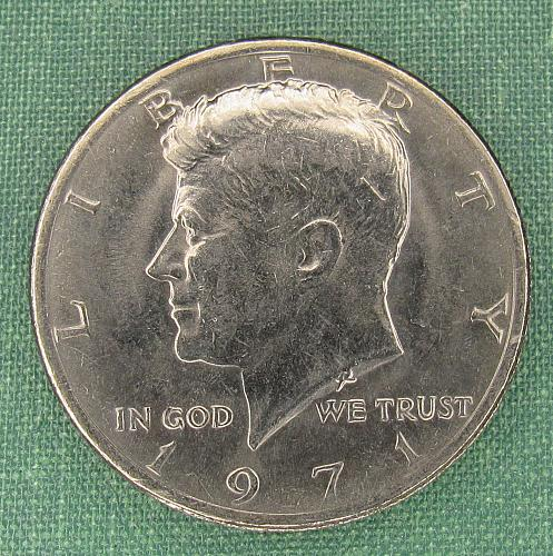 1971 Kennedy half, with  mint luster
