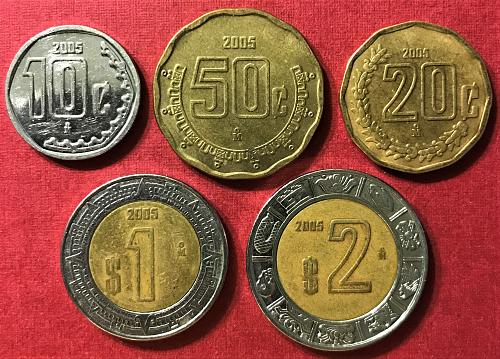 Mexico 2005 = 2 and 1 Pesos; 50, 20 and 10 Centavos