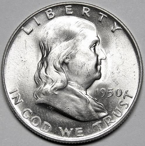 1950 D Franklin Half Dollar#1 Beautiful coin with great Luster!