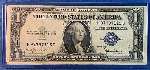 1935 D Series One Dollar Sliver Certificate. In Plastic Sleeve for Protection