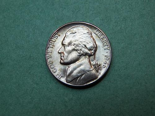 1946 D Jefferson Nickel Brilliant Uncirculated Coin   v26