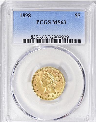 1898 P $5 GOLD LIBERTY HEAD HALF EAGLE PCGS MS 63