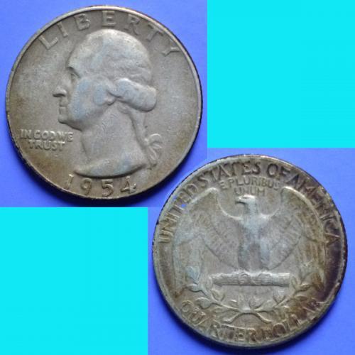 USA United States of America Washington Quarter 25 Cents 1954 P km 164 Silver