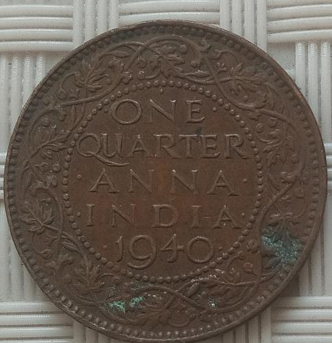 1940...India  Circulated  coin..1/4 Anna