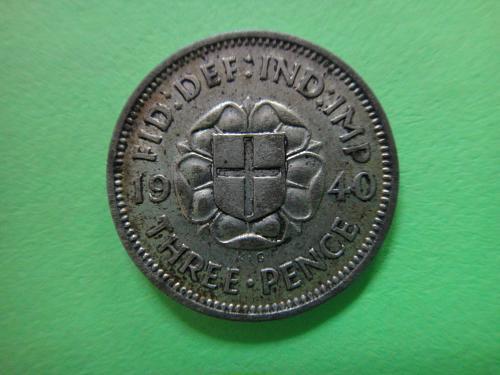 GREAT BRITAIN 3 Pence SILVER 1940 MS-63 (Choice BU) K#848 Original Patina!