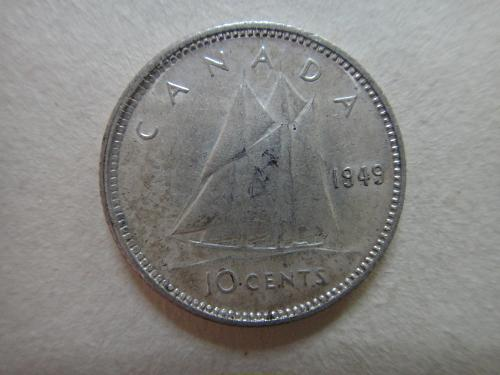 CANADA 10 Cents 1949 Extra Fine-40 with LUSTER Typical of a 45!