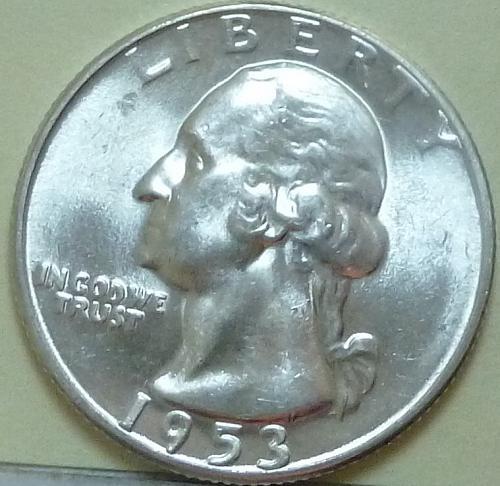 1953-P BRILLIANT UNCIRCULATED Washington Quarter BU ( 717)
