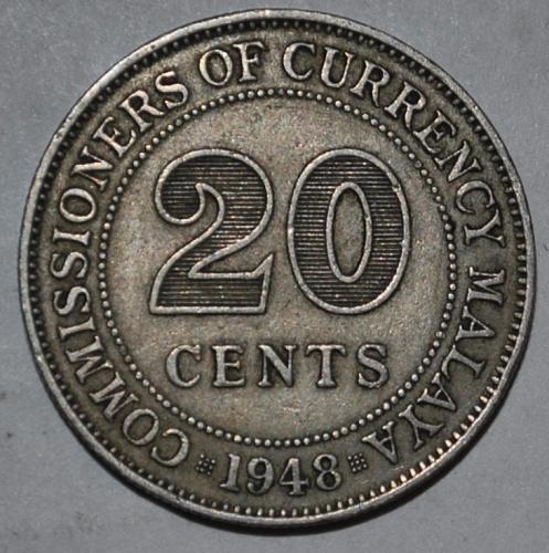 Malaya 20 Cents 1948