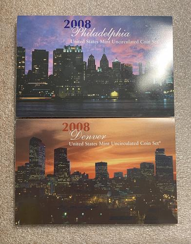 2008 United States 28-Coin Uncirculated Mint Sets - Philadelphia & Denver Mints