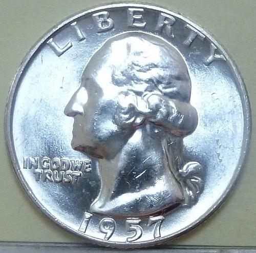 1957-D BRILLIANT UNCIRCULATED Washington Quarter BU ( 736)