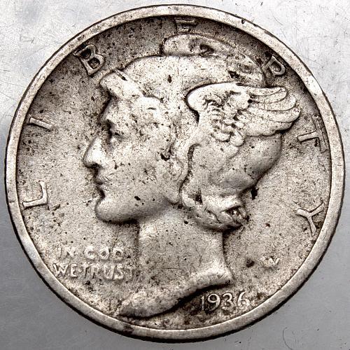 1936 P Mercury Dime #2