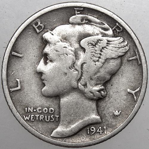 1941 P Mercury Dime#7