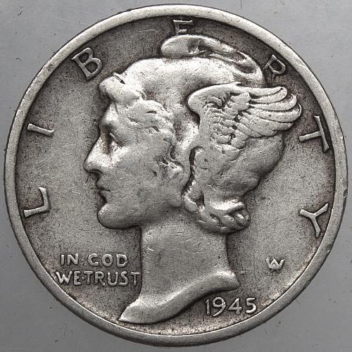 1945 S Mercury Dime #10