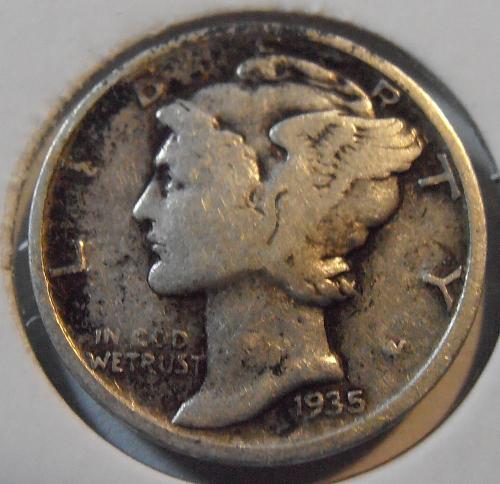 1935 D Mercury Silver Dime, Better Grade Coin (35DA2)