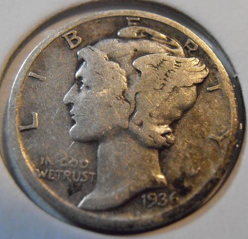 1936 D Mercury Silver Dime,  (36DA6)