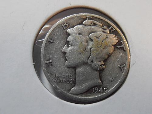 1940 S Mercury Silver Dime (40SAC3)