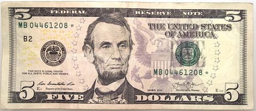 2013-B  $5 Star Note  Circulated as Shown