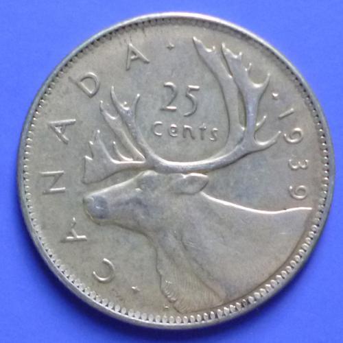 Canada 25 Cents 1939 km 35 Silver