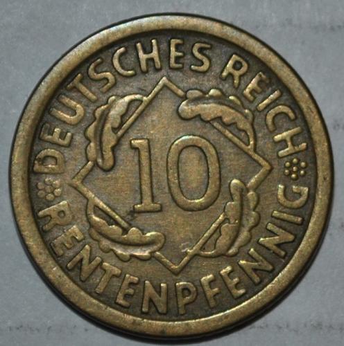 Germany 10 Rentenpfennig 1924 e