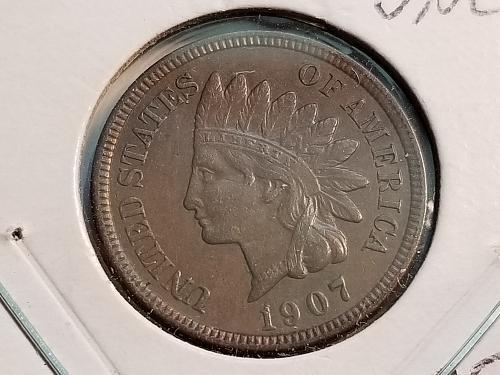 1907 P Indian Head Cent (AU)