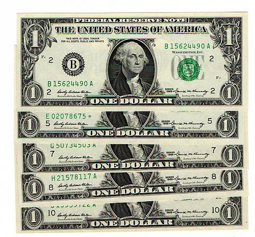 Series 1969 $1 Federal Reserve Note -  Uncirculated - 2 5 7 8 10