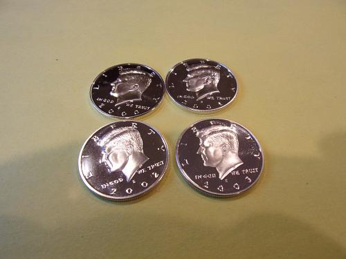 kennedy half dollars silver proof 2000 s 2001 s 2002 s 2003 s no toning on coins