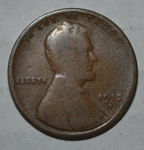 "1912 D Lincoln Wheat Cent Small Cent  Early struck missing the ""O"" in ""One"
