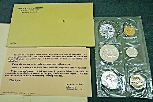 1961 P Proof Set - 5 Coins, 1 Token - 8 Photos!