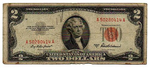 1953 A Red Seal Note $2 Two Dollar Bill Circulated Currency