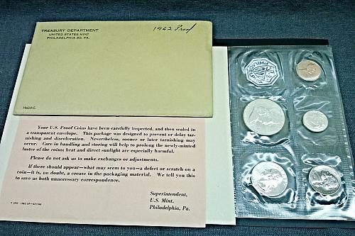 1962 P Proof Set - 5 Coins, 1 Token - 8 Photos!