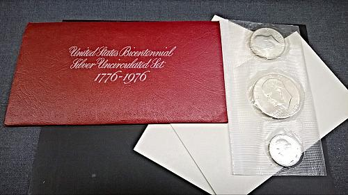 1976 S Bicentennial Silver Unciculated Mint Set - 3 Coins - 8 Photos!
