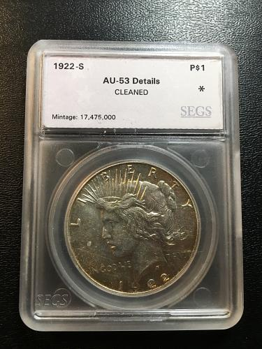 1922 S PEACE DOLLAR SEGS AU-53 DETAILS - ABOUT UNCIRCULATED - CLEANED - GOOD DAT