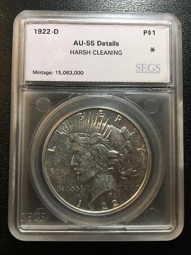 1922 D PEACE DOLLAR SEGS AU-55 DETAILS - ABOUT UNCIRCULATED - CLEANED - GOOD DAT