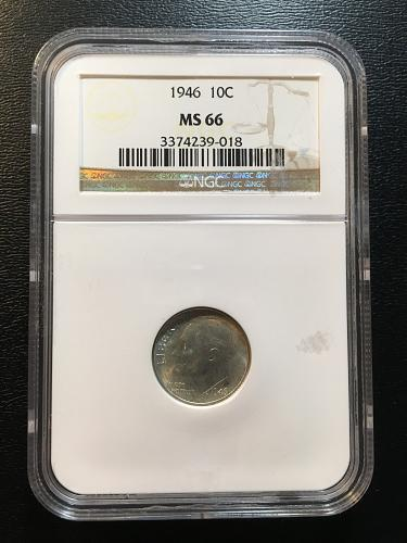1946 ROOSEVELT DIME NGC MS-66 - UNCIRCULATED - HIGH GRADE - FIRST YEAR
