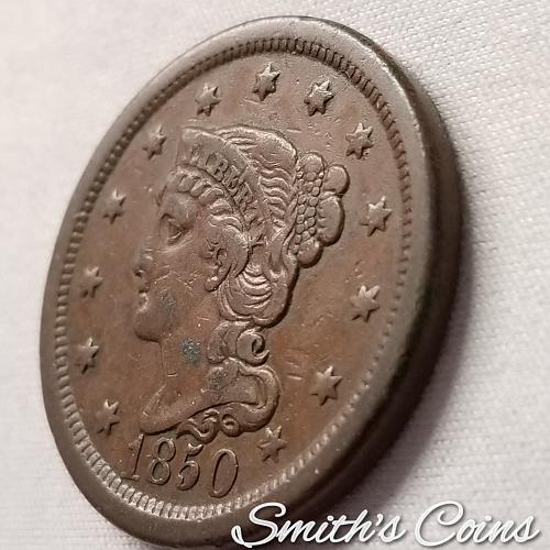 1850 Braided Hair Liberty Head Large Cent ~ VF 35
