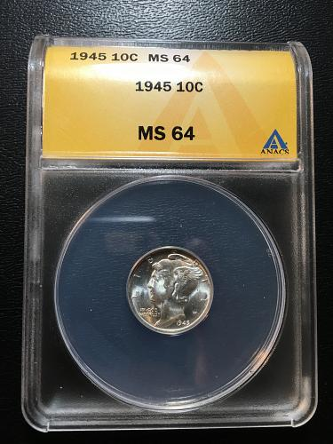 1945 P MERCURY DIME ANACS MS-64 - UNCIRCULATED - STRONG LUSTER - CERTIFIED SLAB