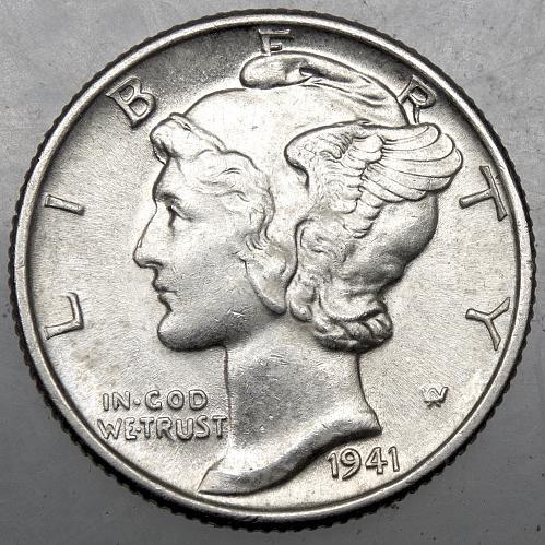 1941 P Mercury Dime#11 FULL BANDS