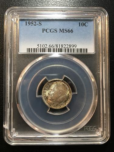 1952 S ROOSEVELT DIME PCGS MS-66 - UNCIRCULATED - STRONG LUSTER - CERTIFIED SLAB