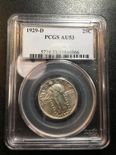 1929 D STANDING LIBERTY QUARTER PCGS AU-53 - ABOUT UNCIRCULATED - CERTIFIED SLAB