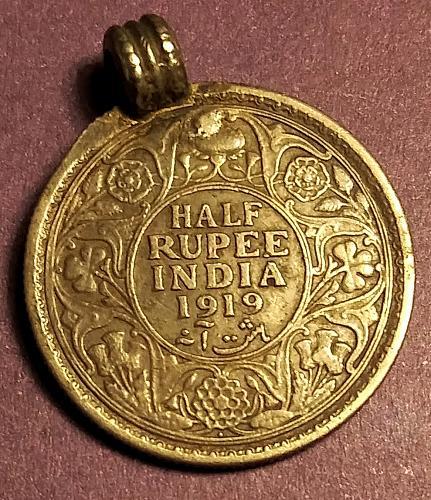 1919 INDIA SILVER HALF RUPEE JEWELRY PIECE