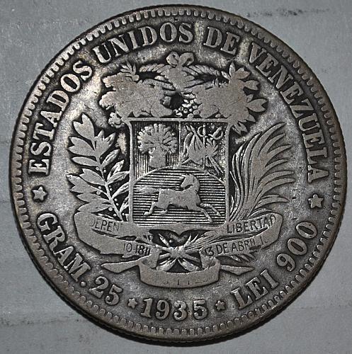 1935 VENEZUELA SILVER 5 BOLIVARS