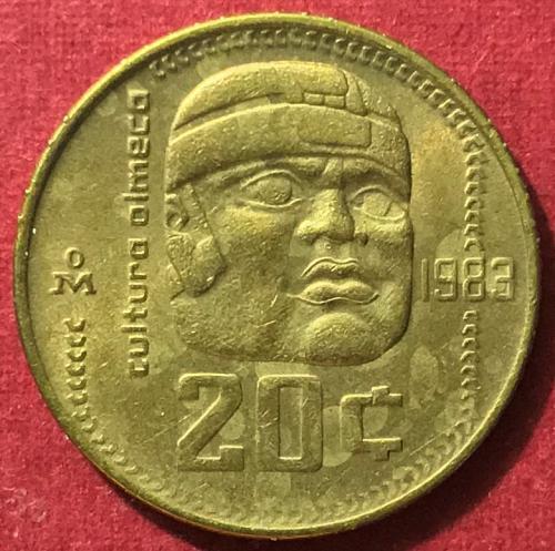 """Mexico 1983 = 20 Centavos """"Olmec Culture"""" [#2]"""