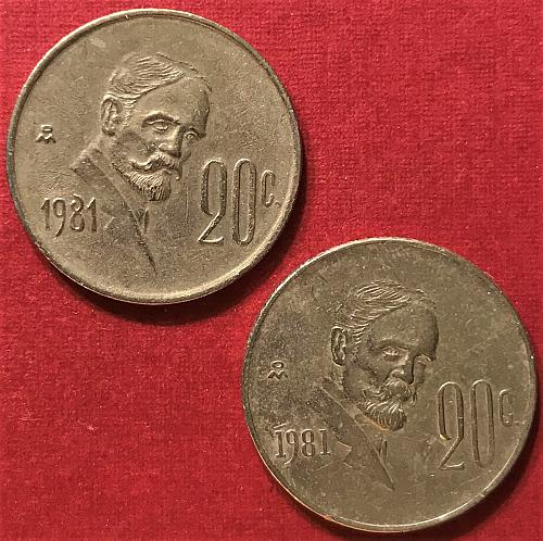 Mexico 1981 = 20 Centavos [Note differences in date on each coin]