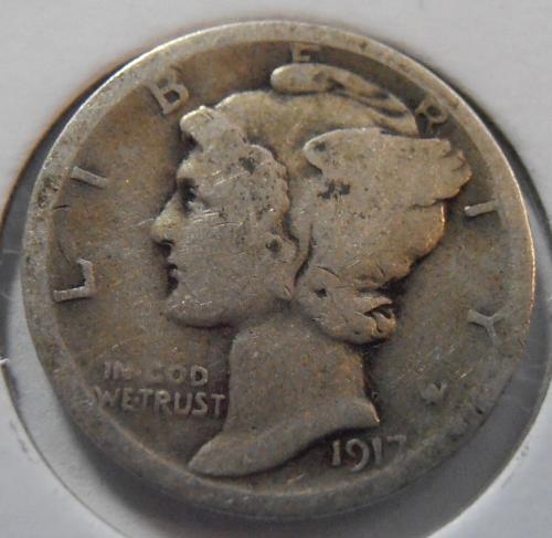 1917 P Mercury Silver Dime (17PLR1)