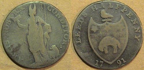VARY R A R E  1791 Yorkshire Leeds Half Penny.